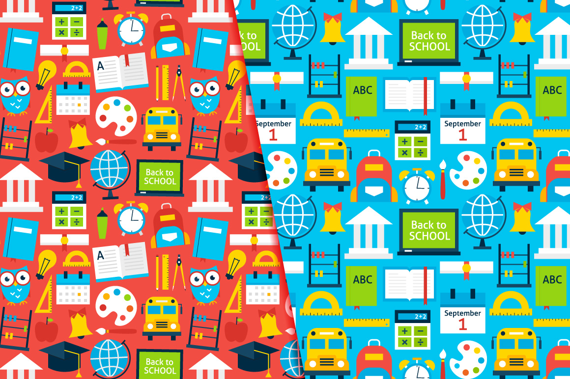 School Flat Seamless Patterns example image 3