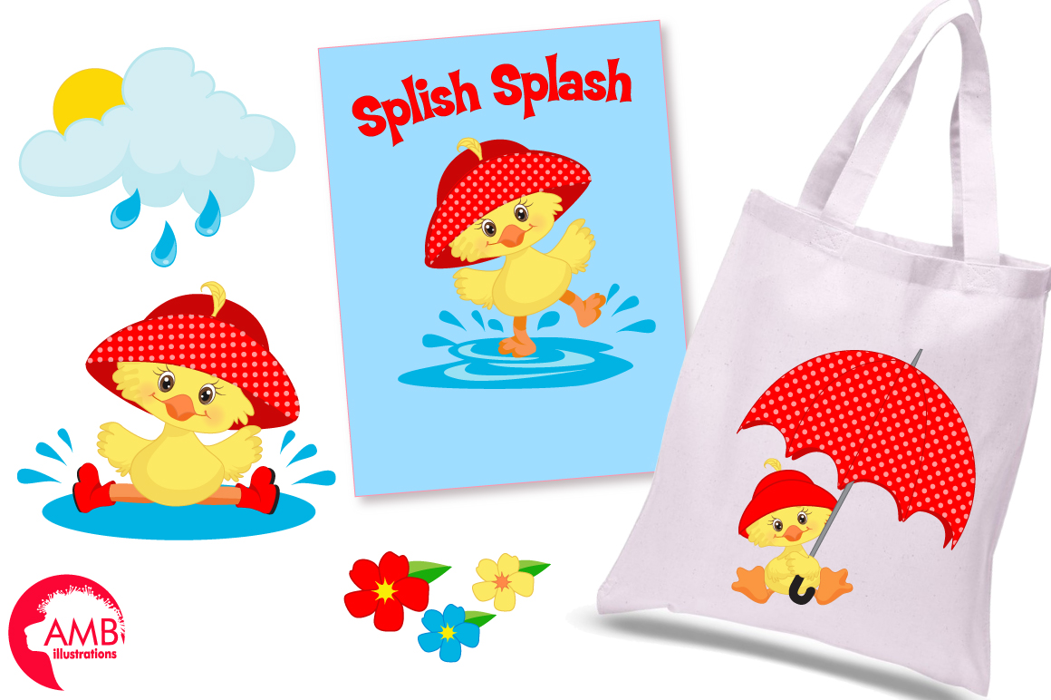 Rainy Day Ducks graphic, illustration, Clipart pack AMB-1823 example image 3