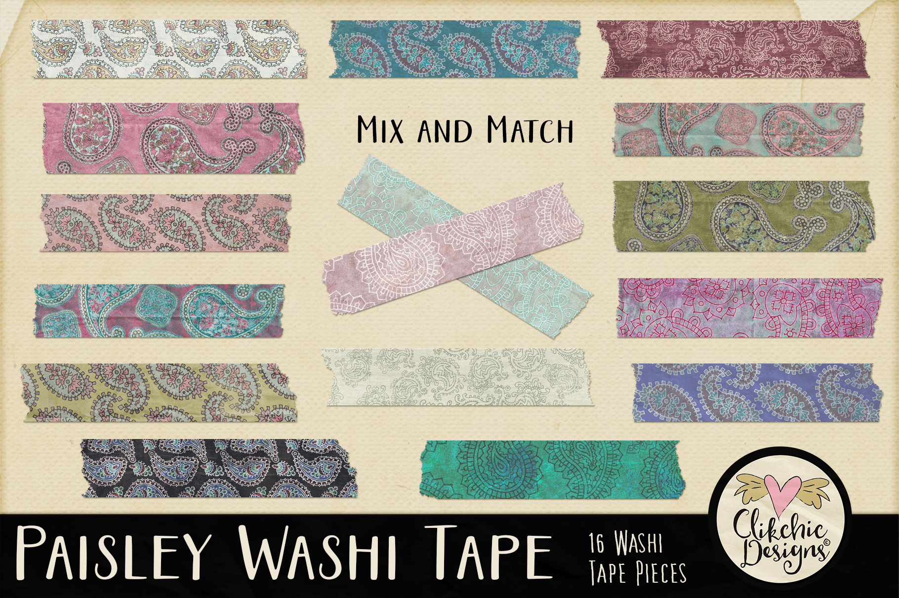 Washi Tape - Paisley Washi Tape Clipart Elements example image 1