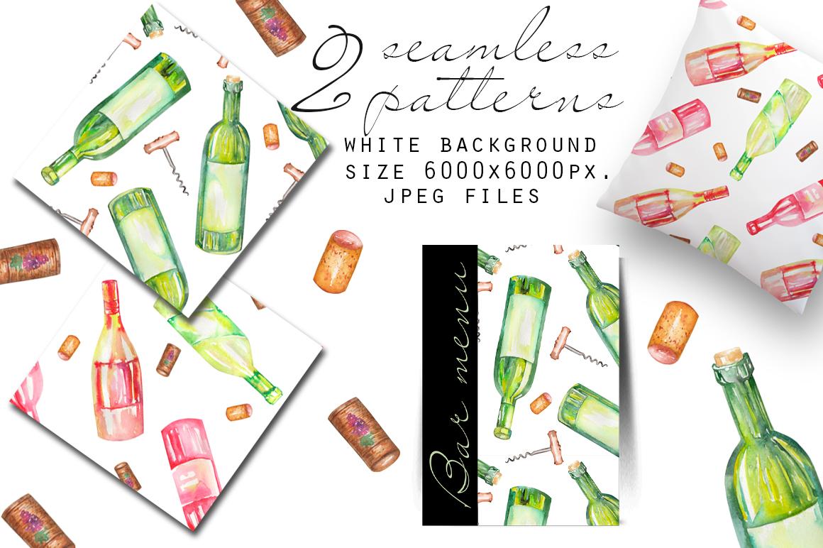Wine. Watercolor clip art. example image 3