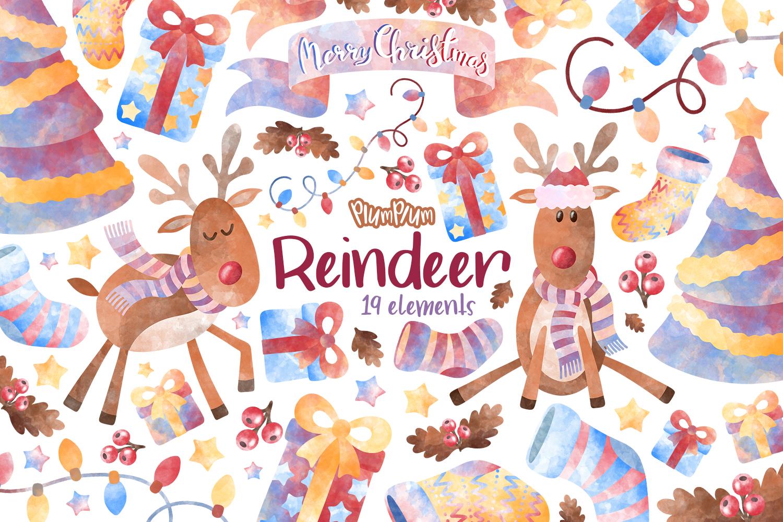Reindeer Watercolor Cliparts example image 1