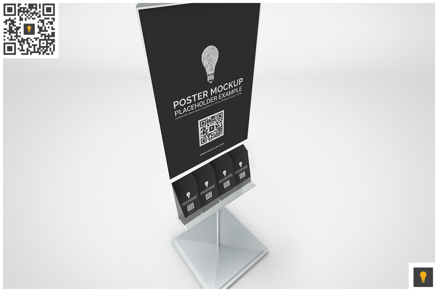 Poster Stand with Brochure Rack Mockup example image 3