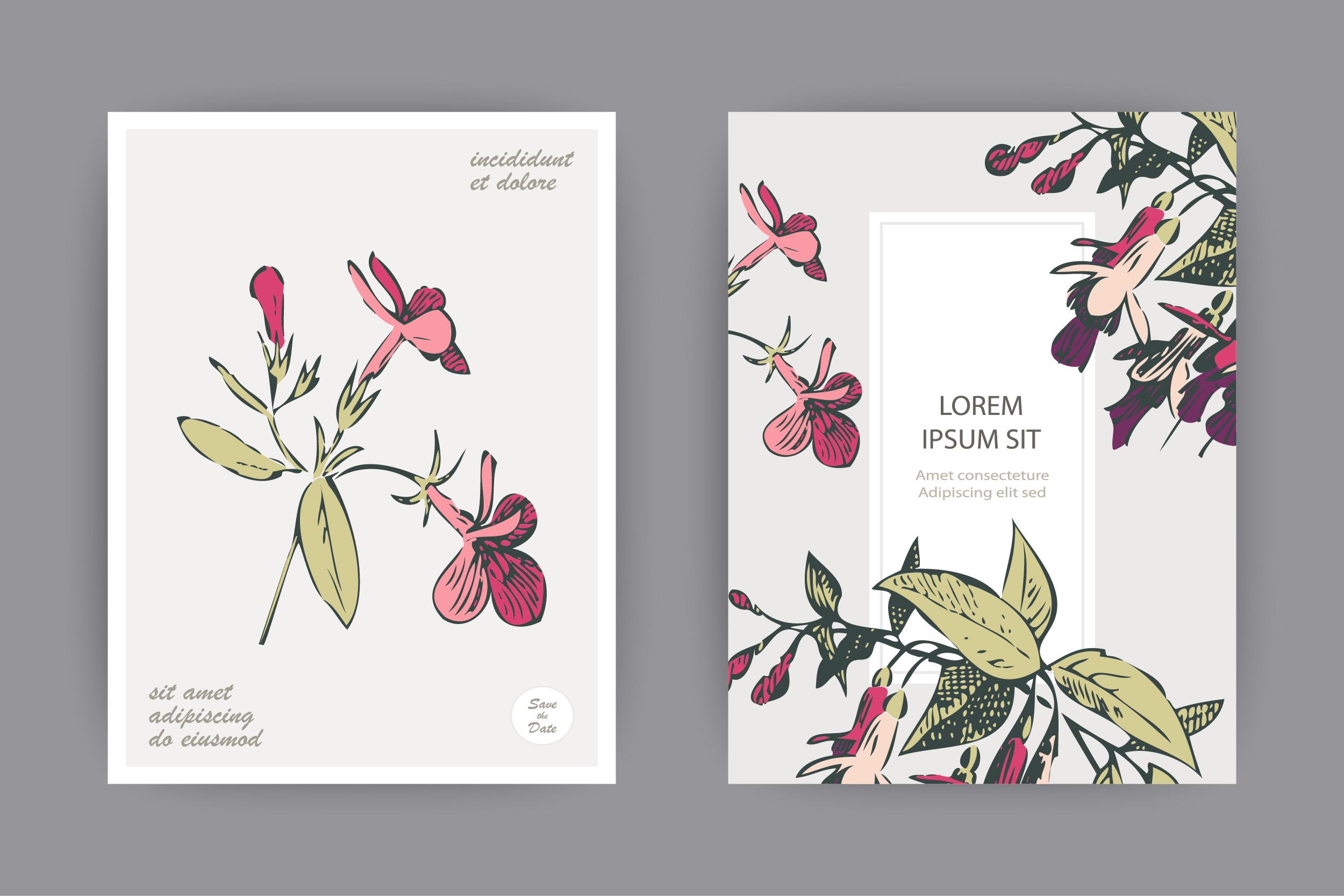 Fuchsia flower templates for card, invitation, wedding example image 2