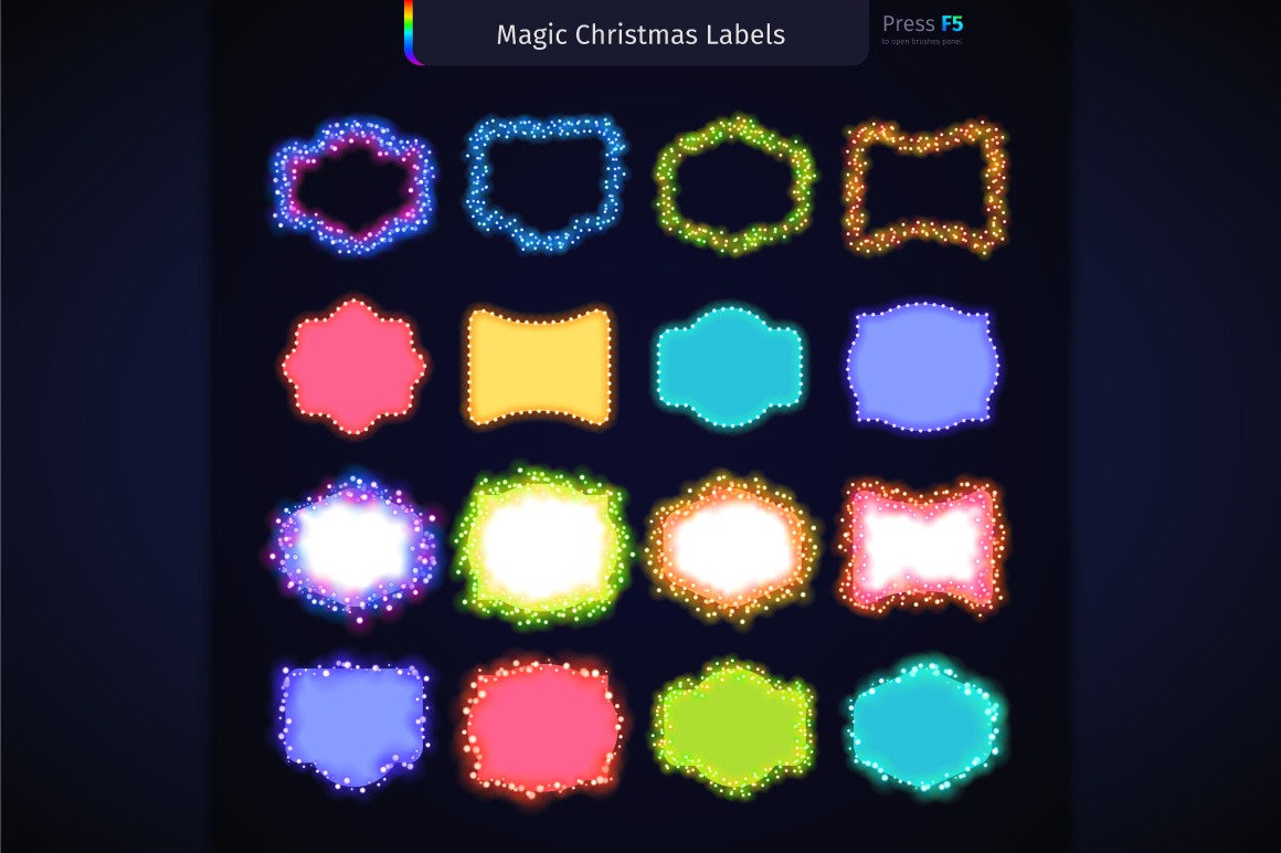 Magic Christmas Lights Vector Brushes Big Set example image 11