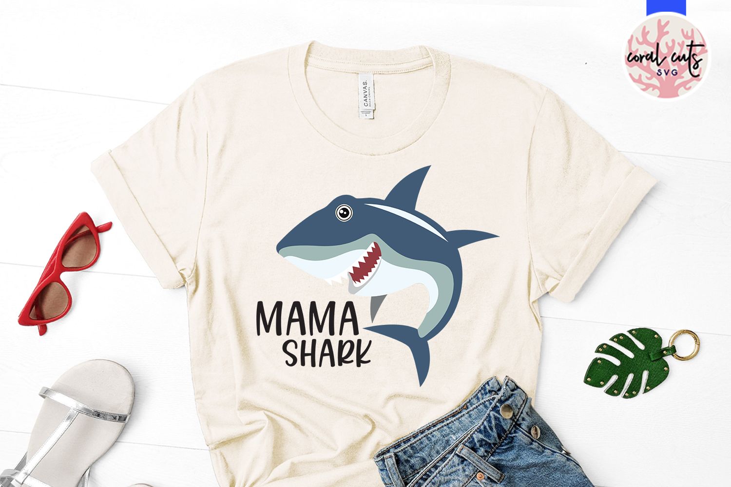 Mama shark - Mother SVG EPS DXF PNG Cutting File example image 2