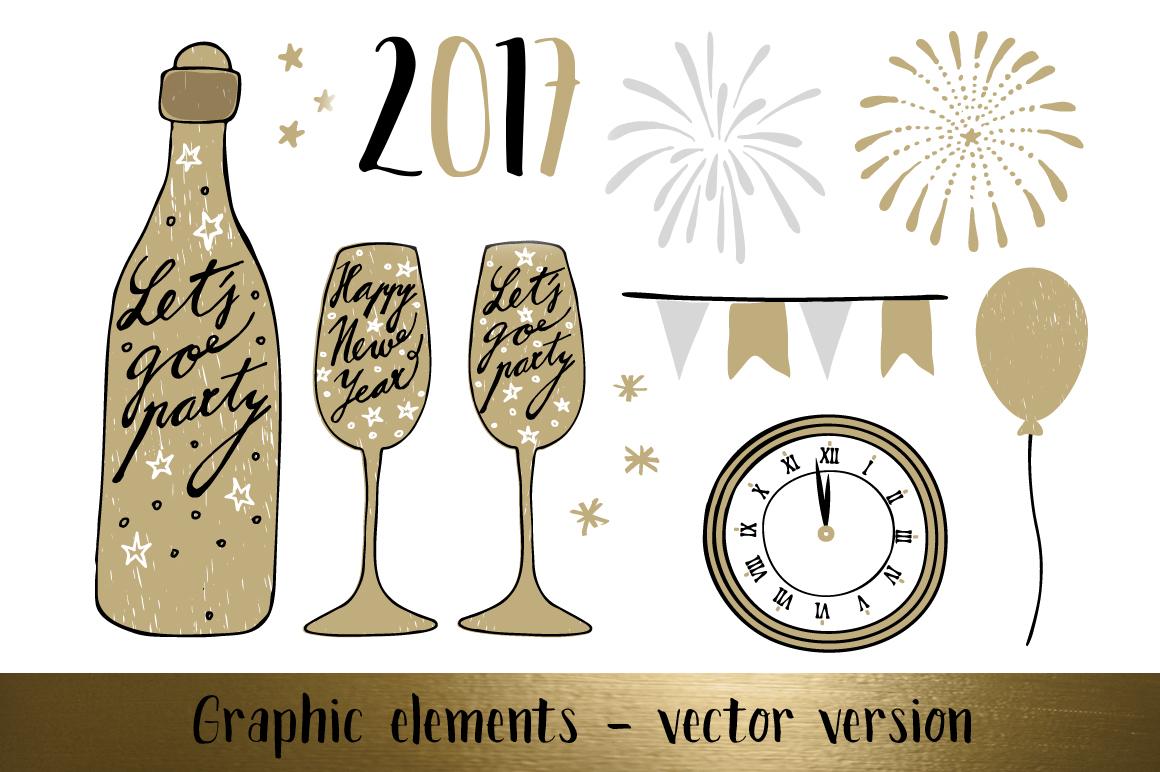 Golden Happy New Year set example image 5