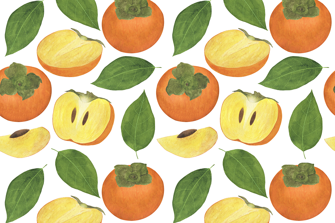 Set of persimmon watercolor illustrations. example image 10