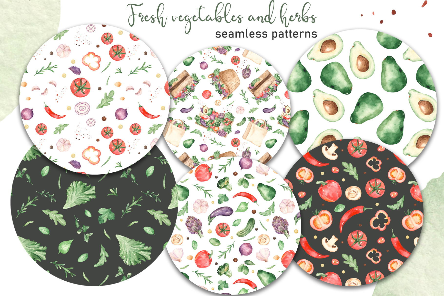 Vegetables and herbs Watercolor collection Clipart example image 5