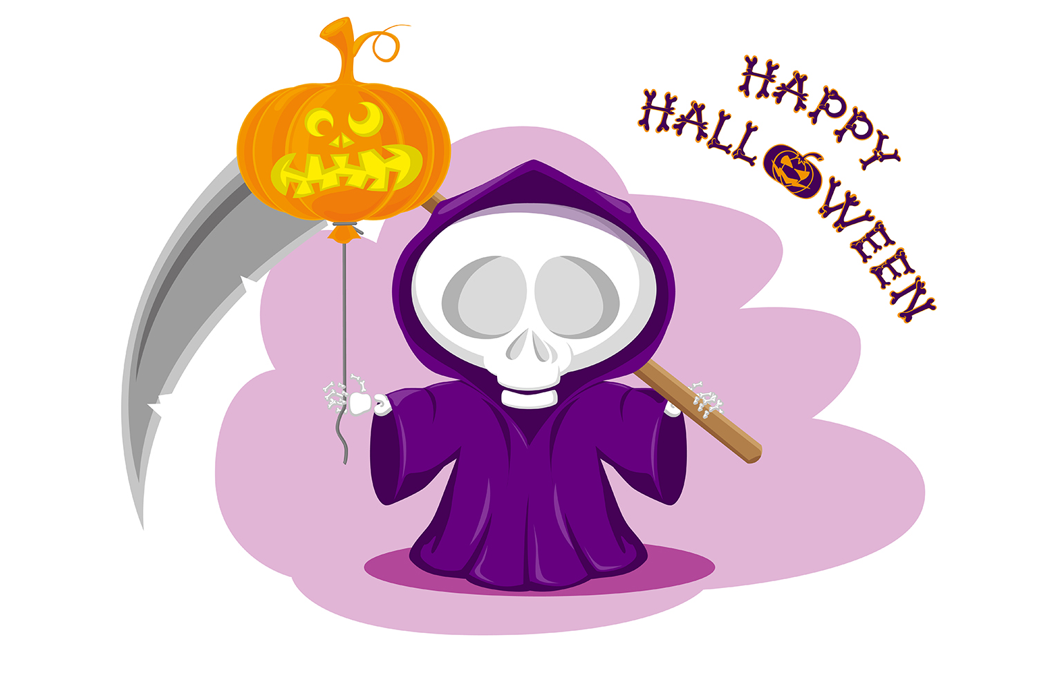 Set of 12 figure funny little death with large scythe and halloween pumpkin. Vector illustration example image 11