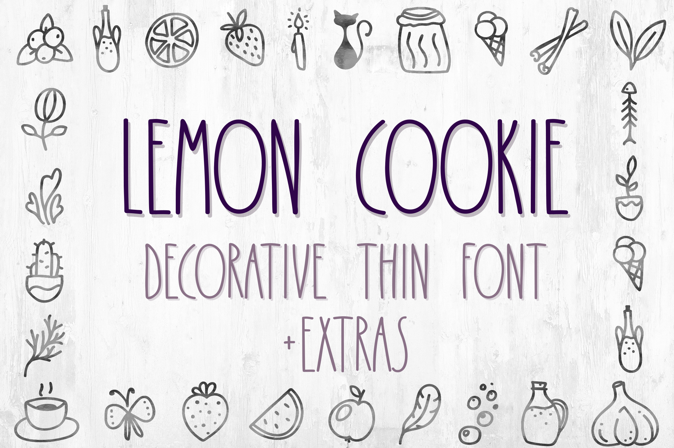 Lemon Cookie - thin font with extra characters pictures example image 1