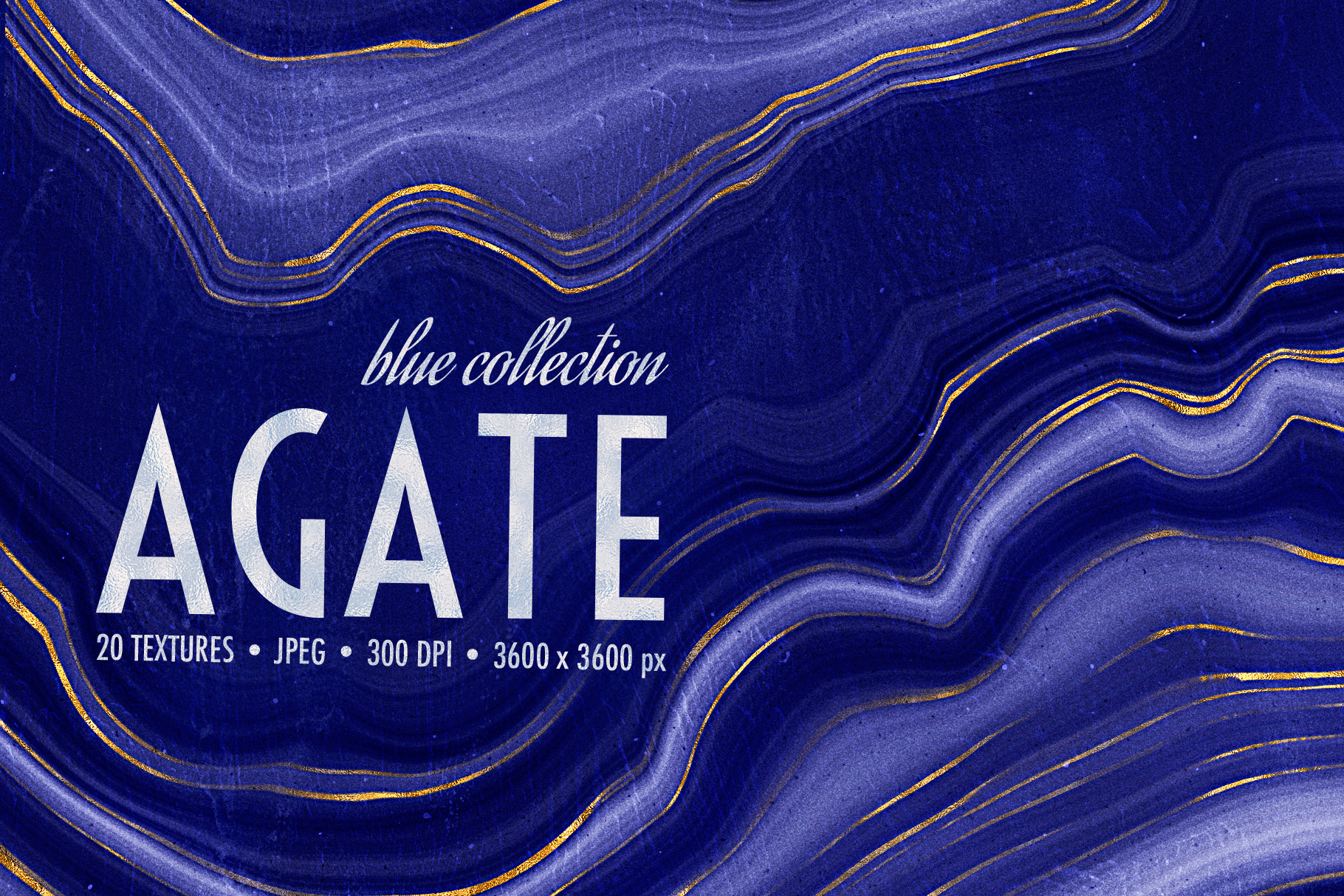Blue & Gold Agate Geode Textures - 20 Digital Papers example image 1