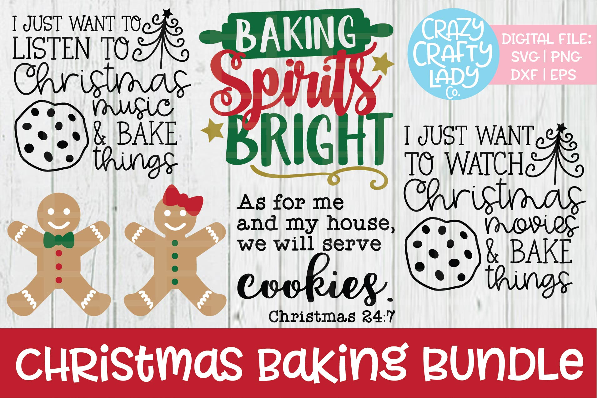 Christmas Baking Bundle SVG DXF EPS PNG Cut Files example image 1