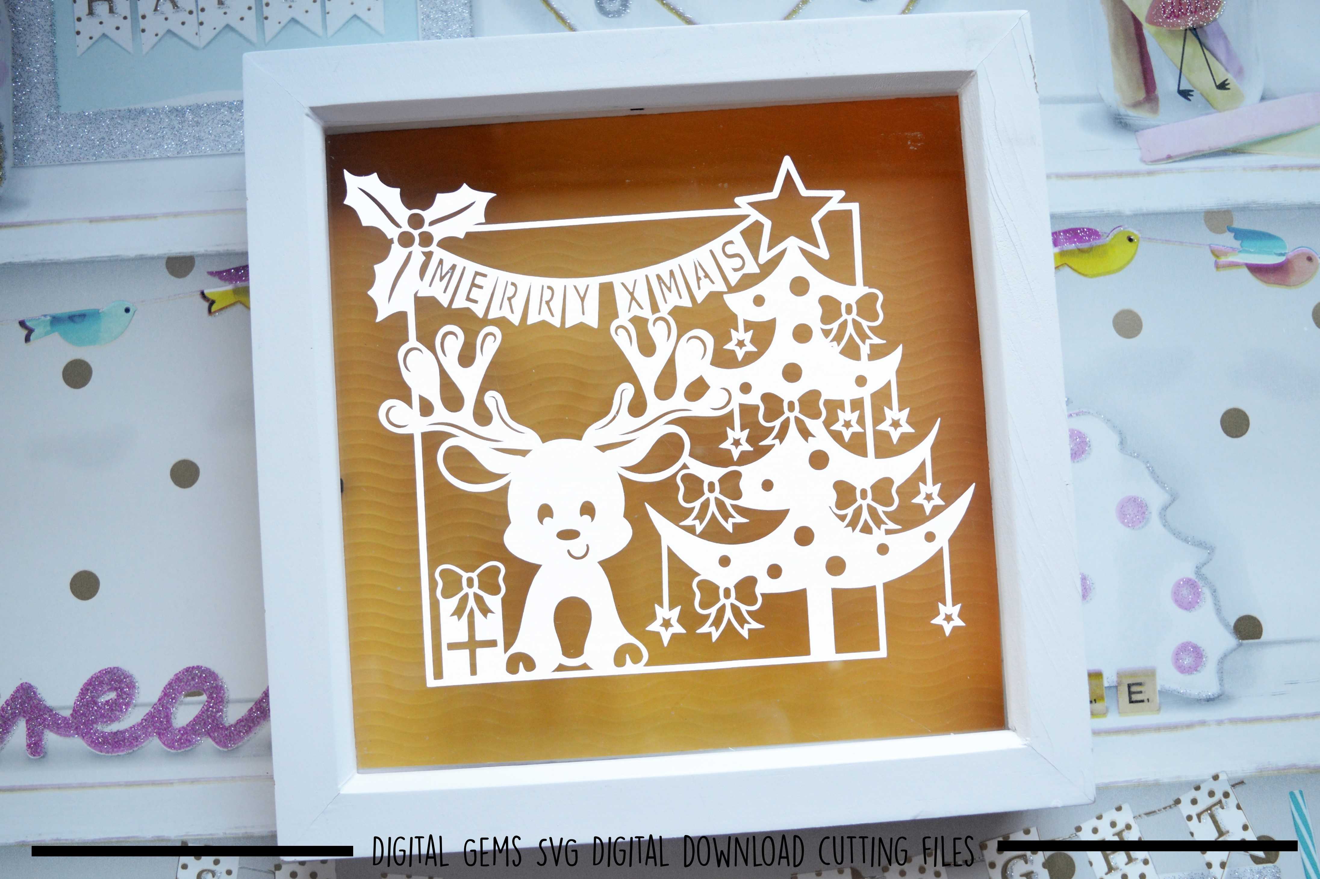 Christmas reindeer paper cut SVG DXF EPS files example image 3