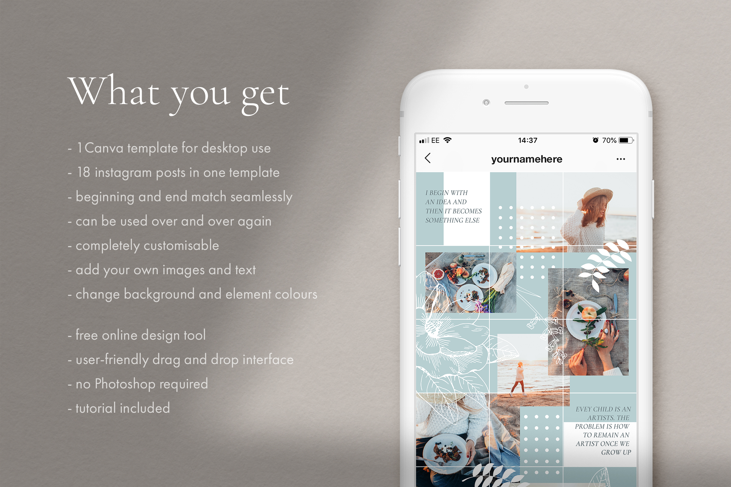 Instagram puzzle template for Canva example image 2