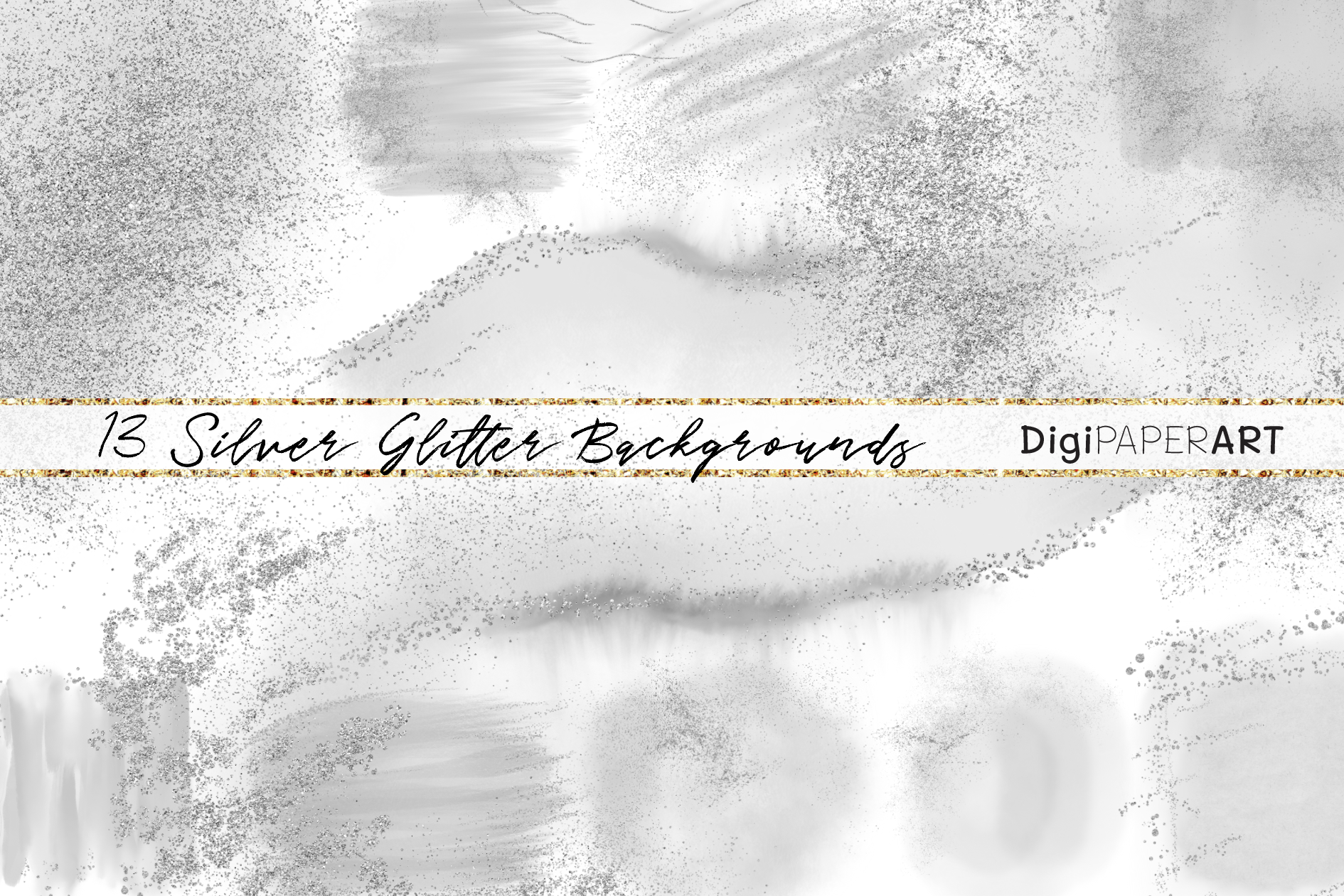 Silver Glitter and Grey Watercolor Backgrounds example image 1