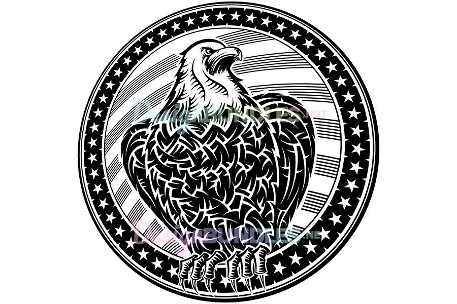 Vector American Eagle USA Natioal Symbol Fourth July Emblem Monochrome example image 1