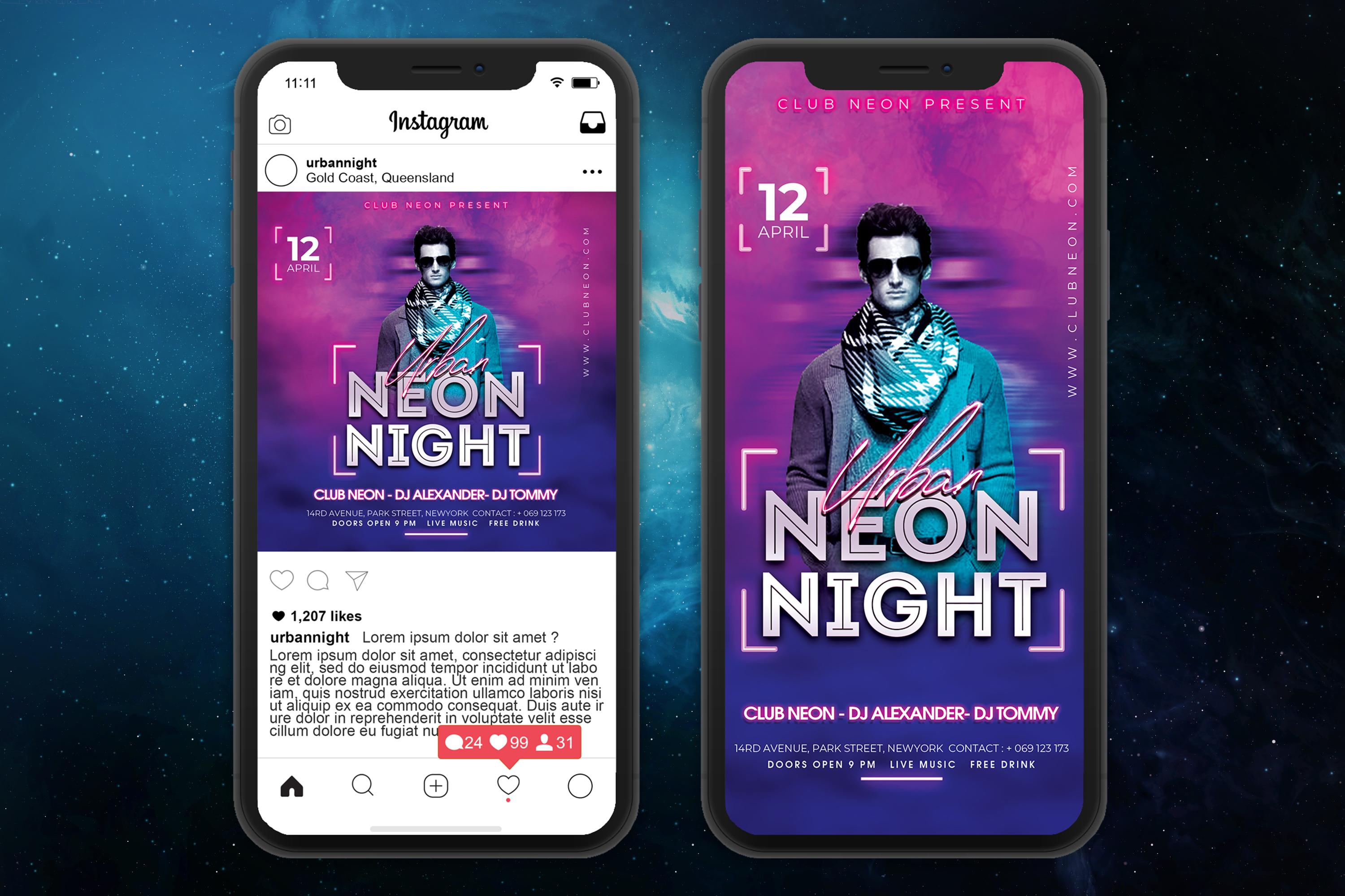 Neon Night Party Flyer Template example image 4
