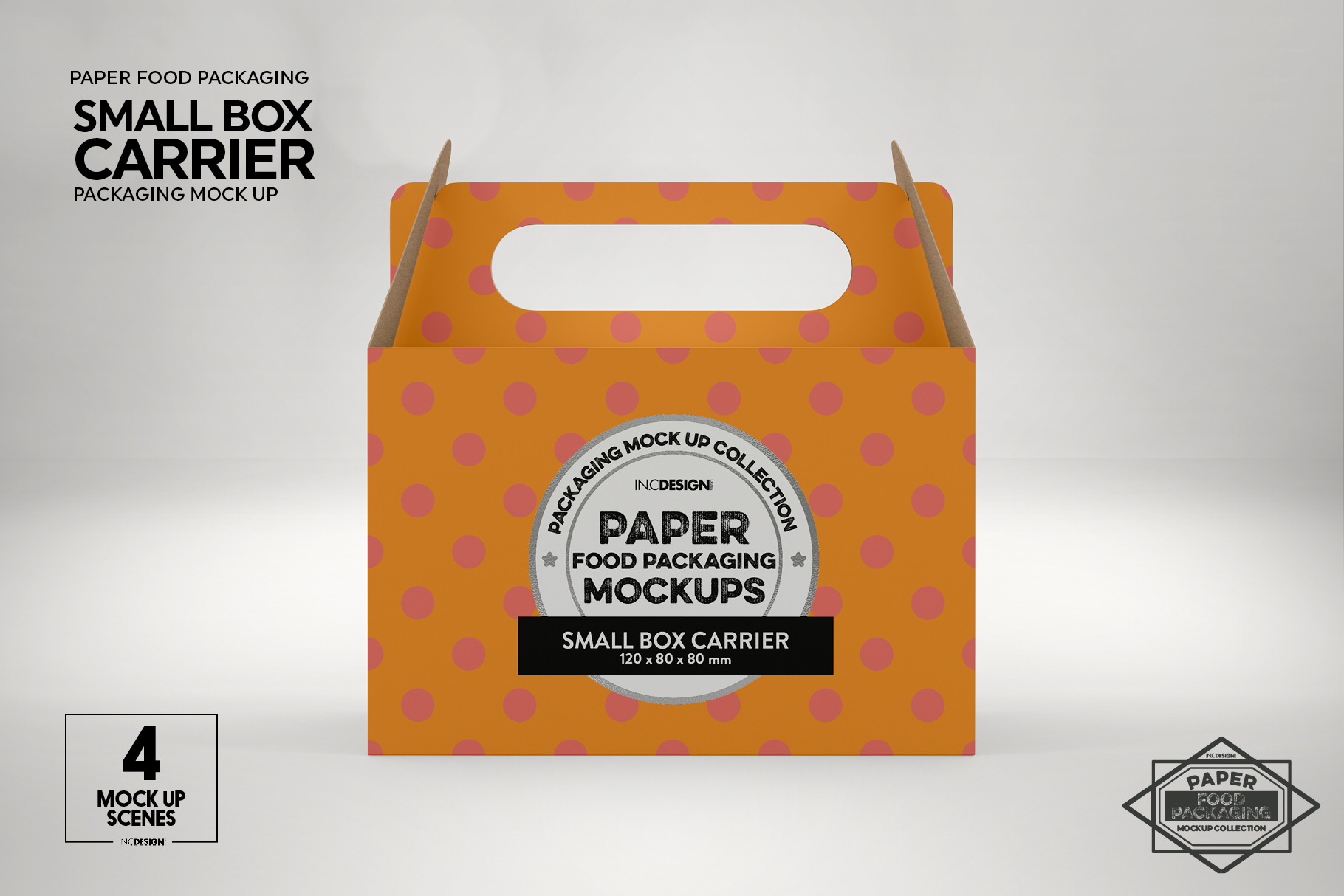 Small Cake Box Carrier Packaging Mockup example image 5
