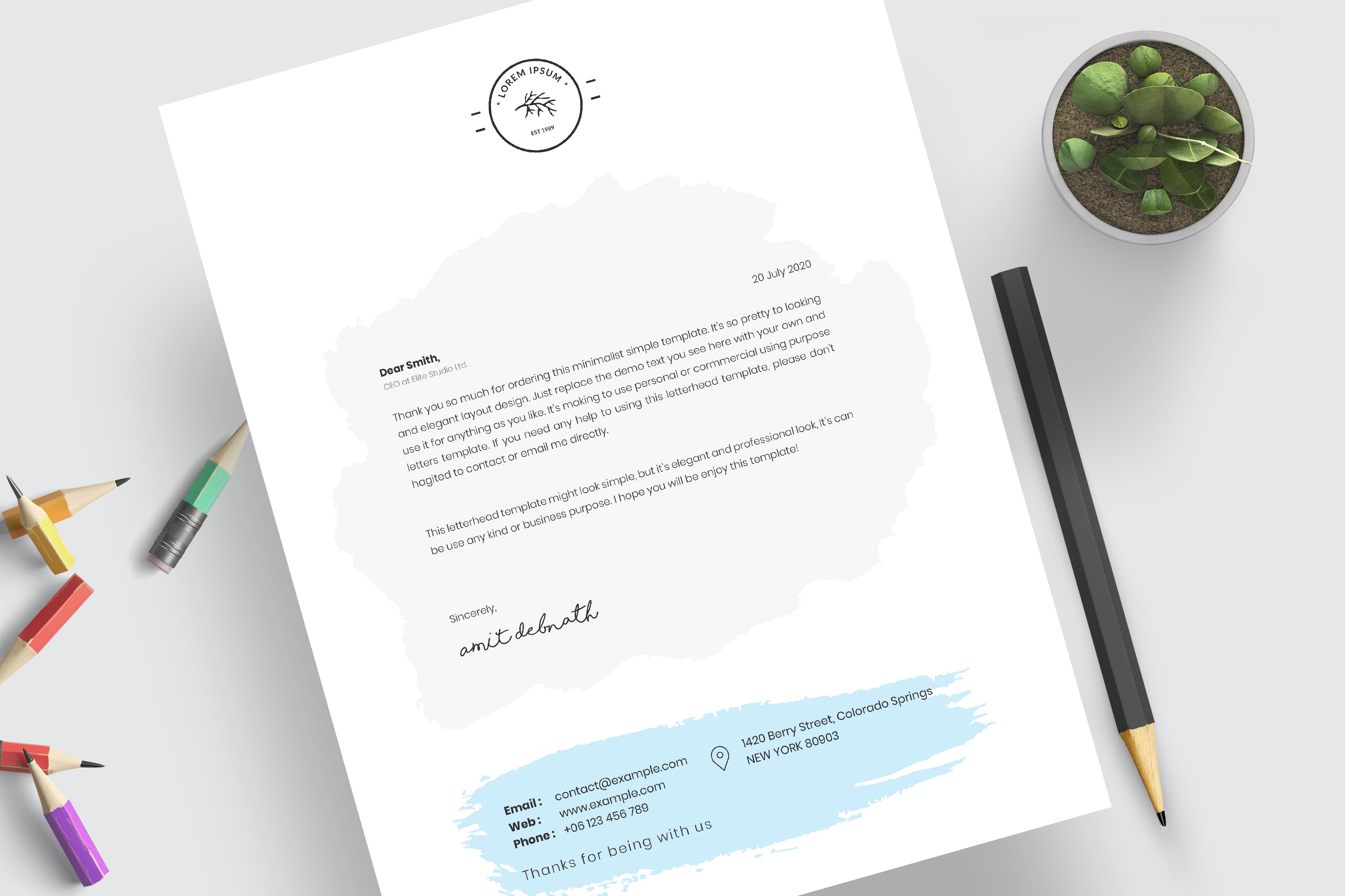 Modern Letterhead Template example image 5