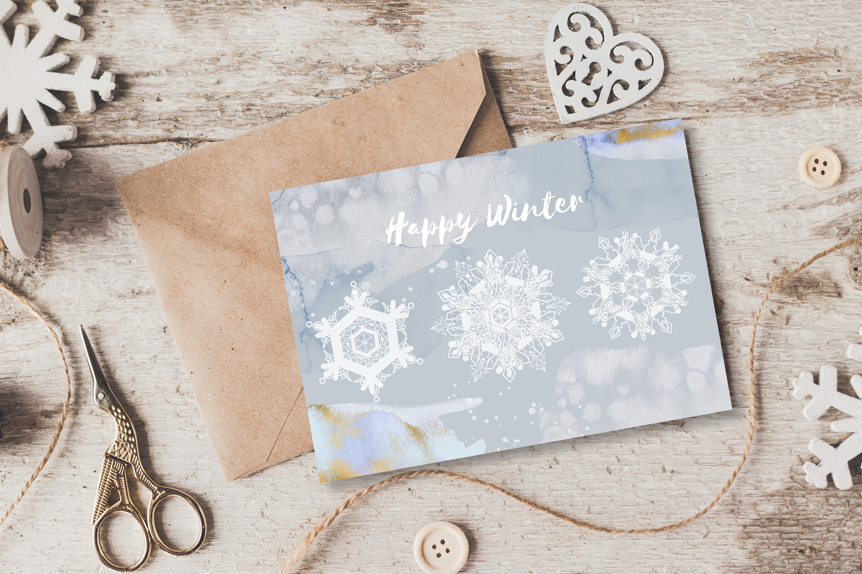 Winter snowflakes clipart set with watercolor splashes example image 6