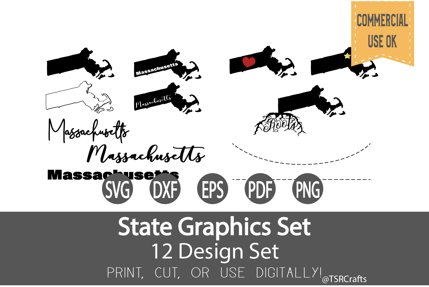 Massachusetts State Graphics Set - Clip Art and Digital Cut example image 1