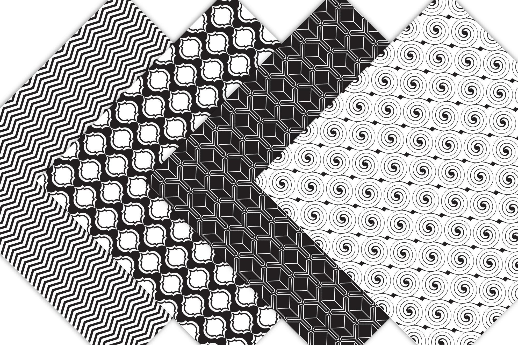 Black and White Digital Paper  example image 6