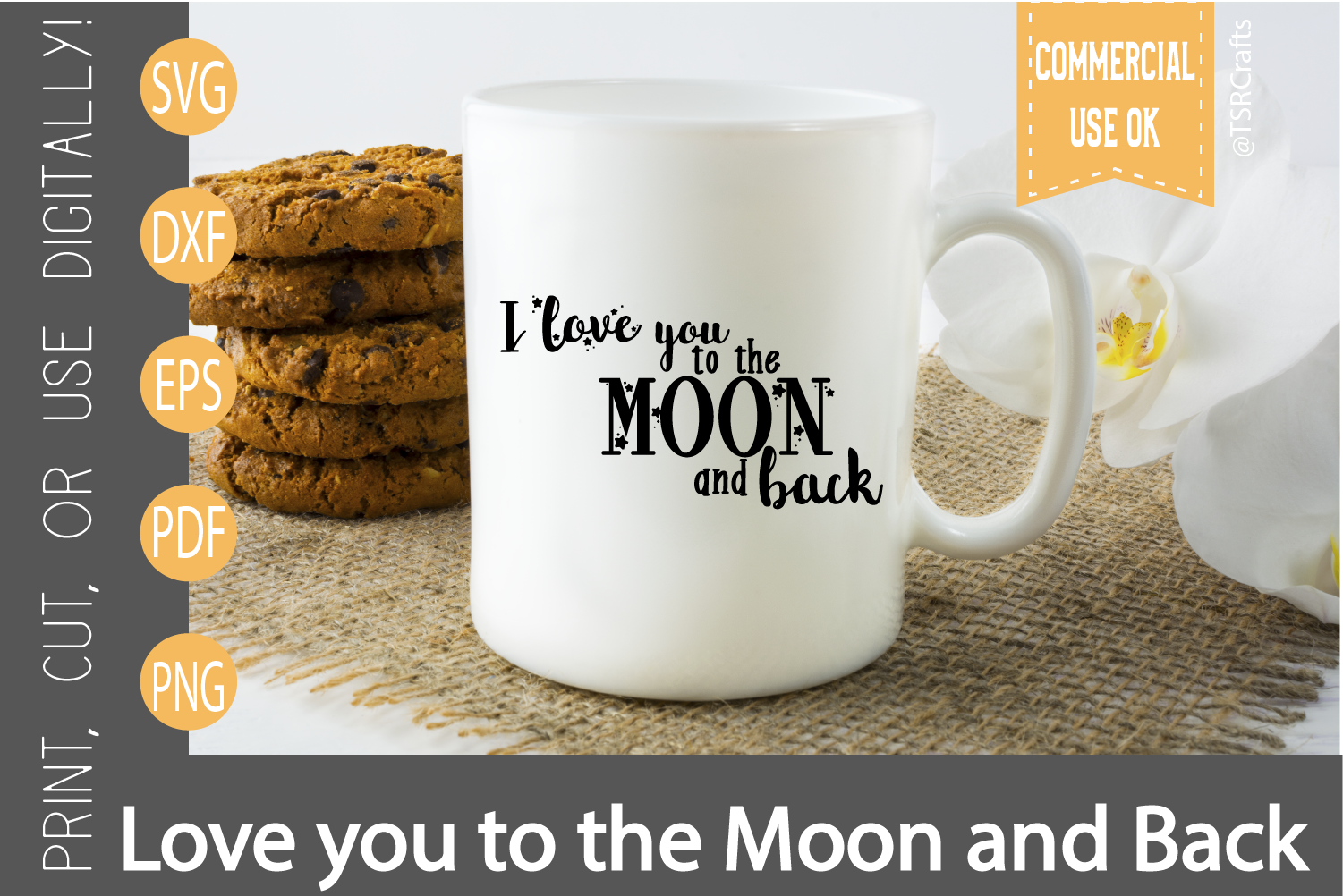 I love you to the moon and back SVG, DXF, Clipart & Cut File example image 2