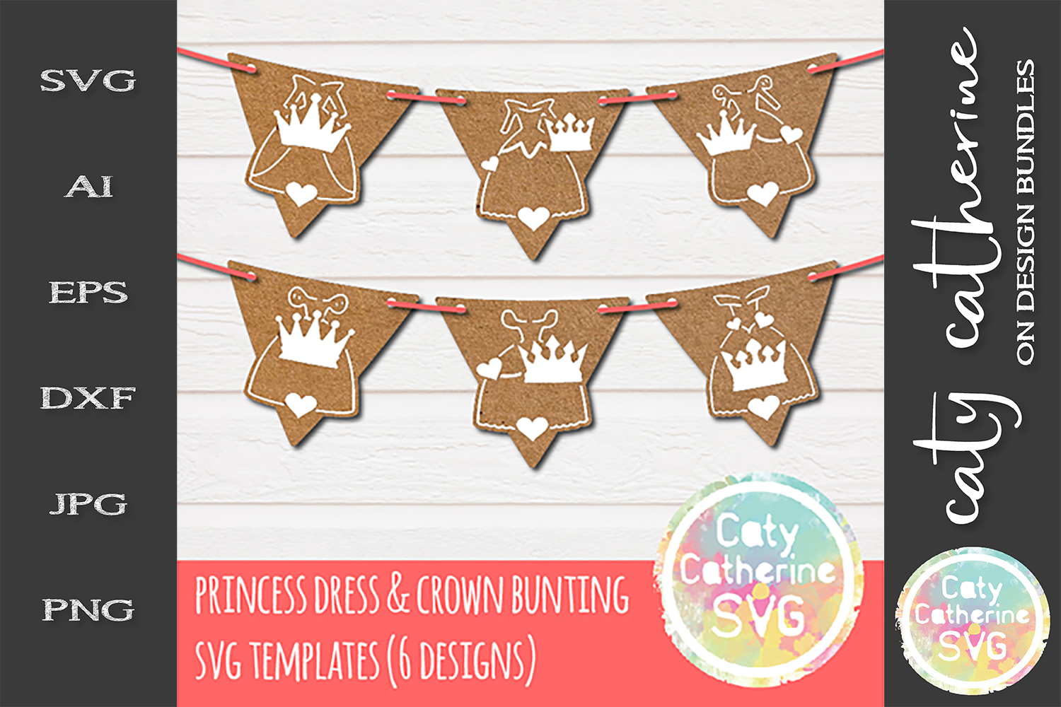 Princess Dress And Crown Birthday Party Bunting SVG Cut File example image 1