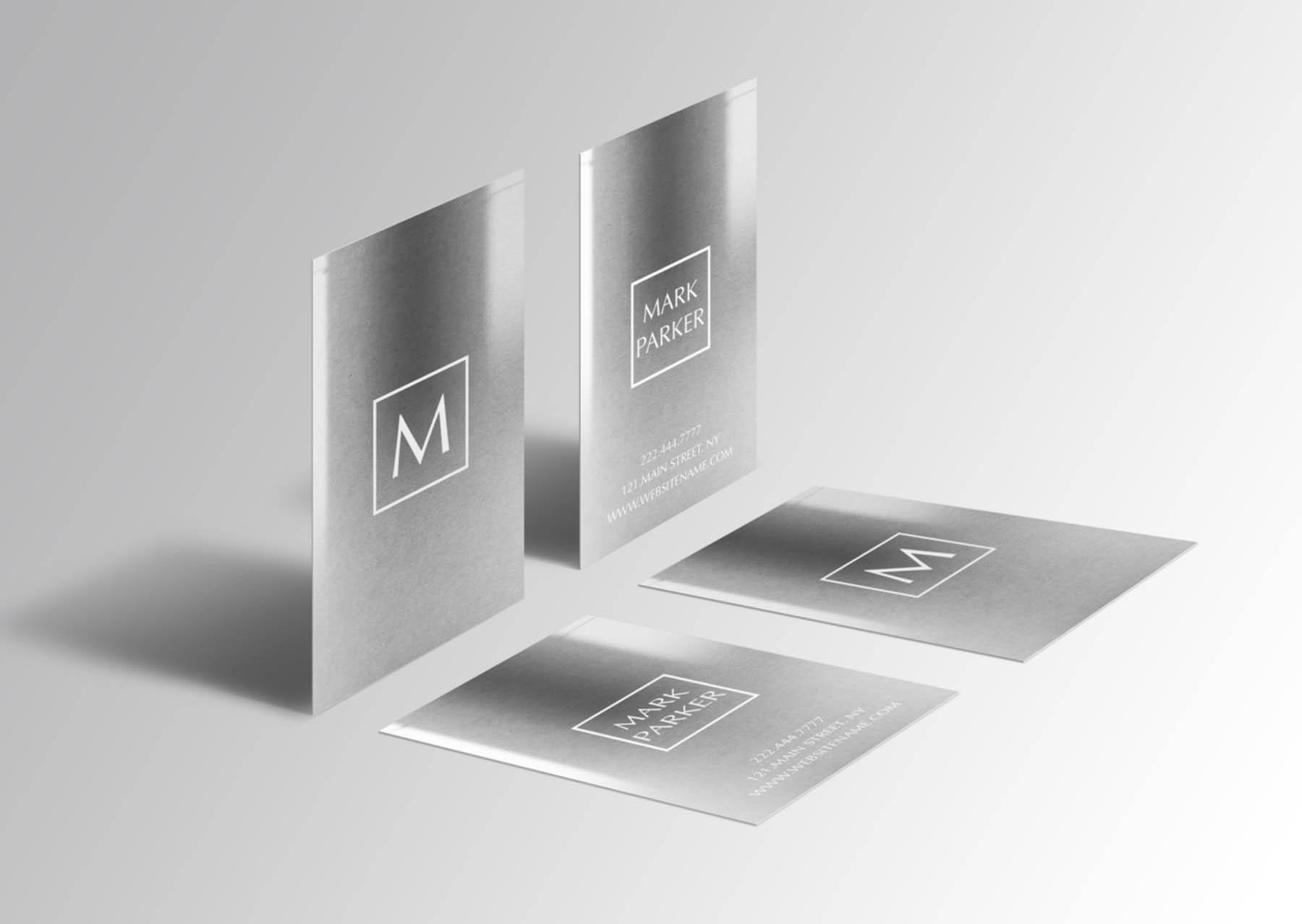 Metal Steel Gradient Business Card  example image 3