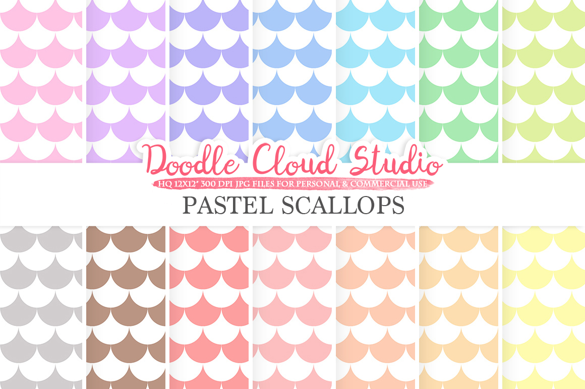 Pastel Scallops digital paper, Scallops patterns, Digital Scallops, pastel colors background, Instant Download for Personal & Commercial Use example image 1