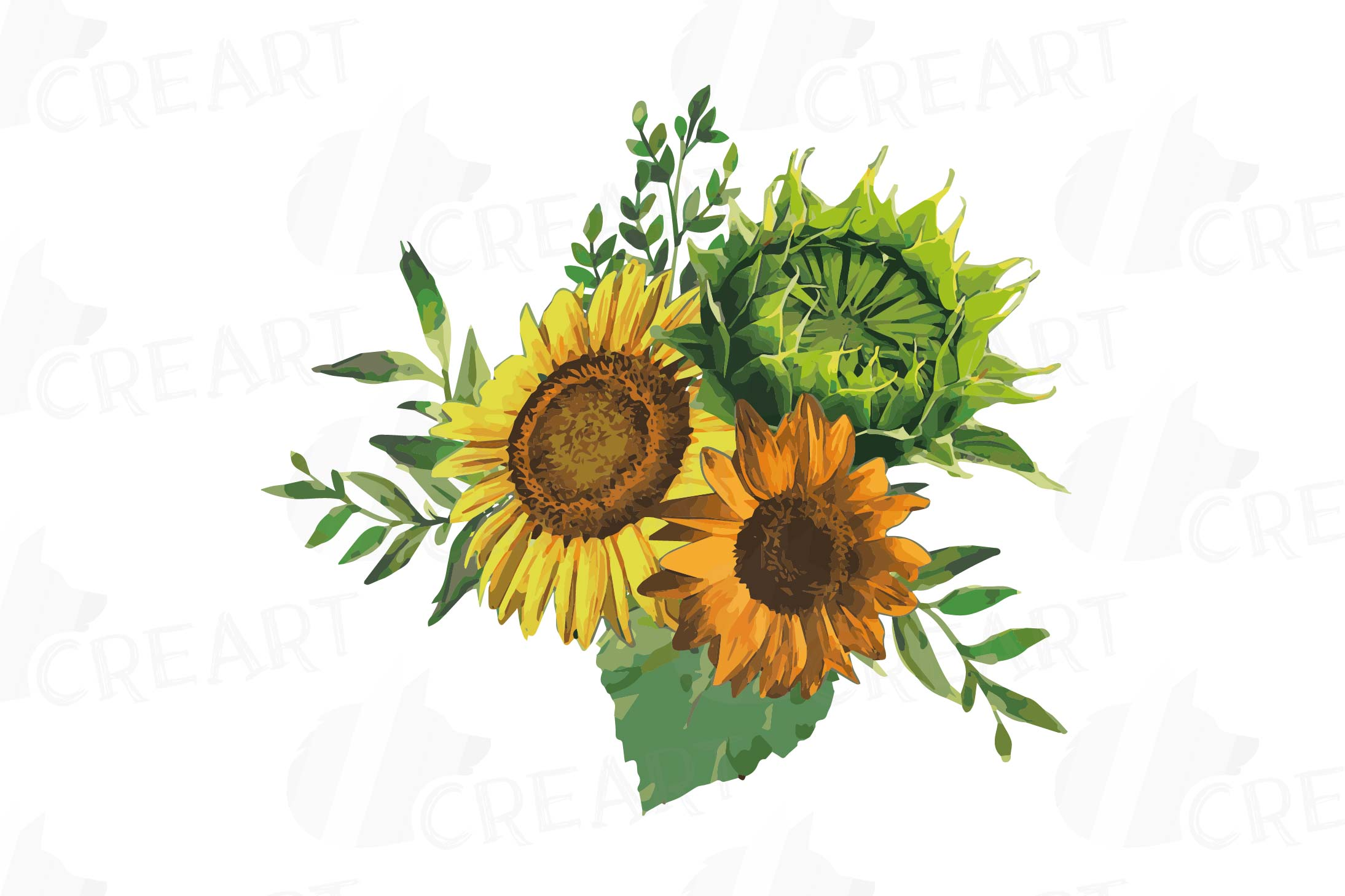 Watercolor sunflower bouquets and design elements example image 5