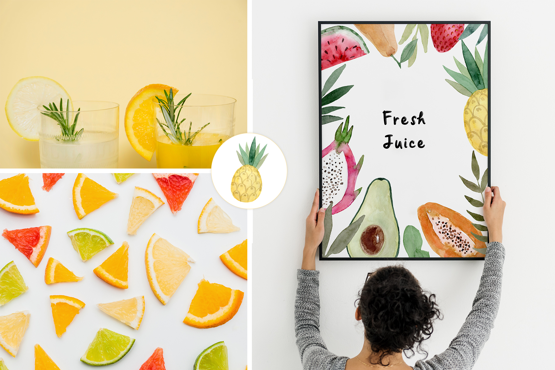Watercolor Fruits. Patterns, Clipart example image 4