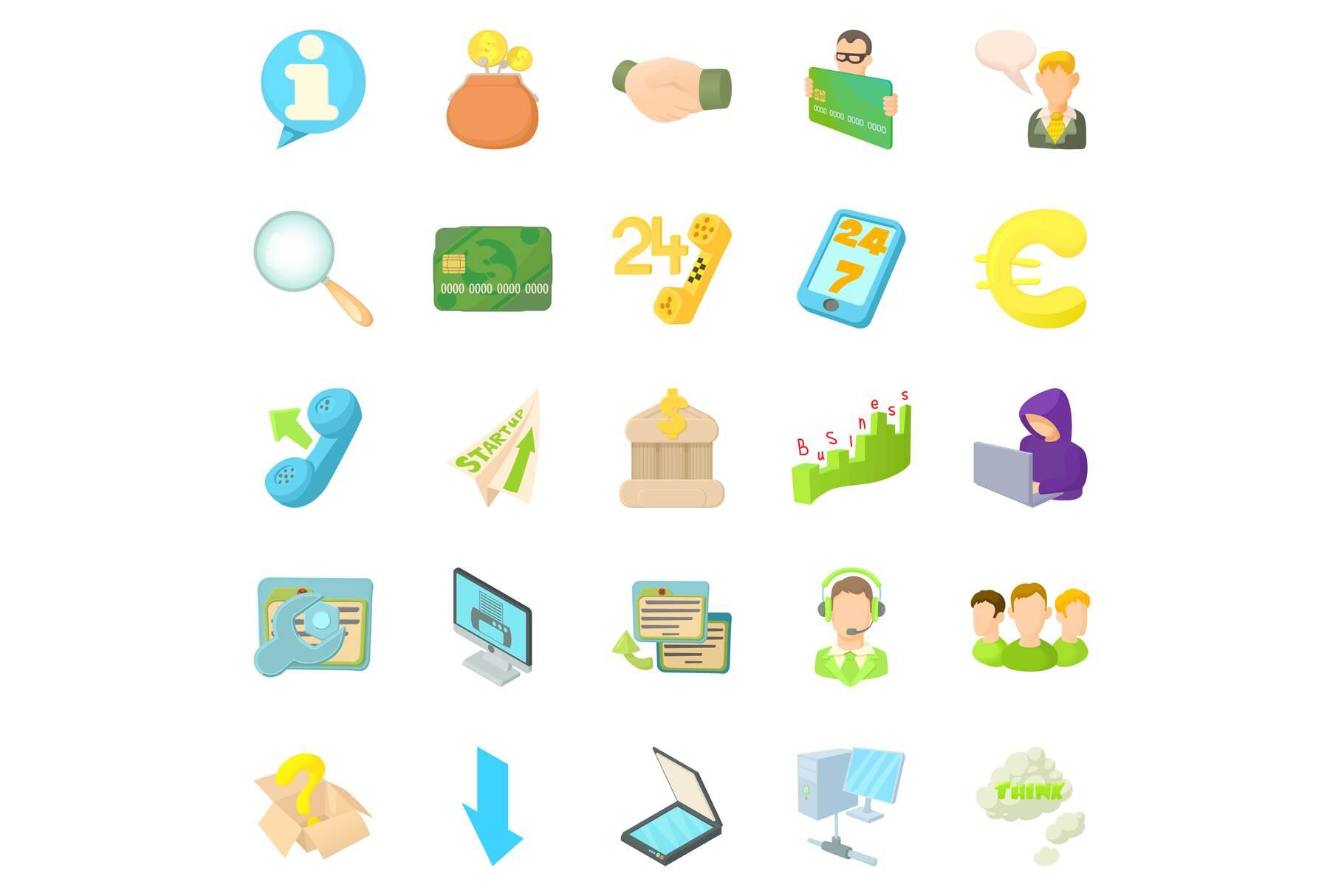 Internet money icons set, cartoon style example image 1