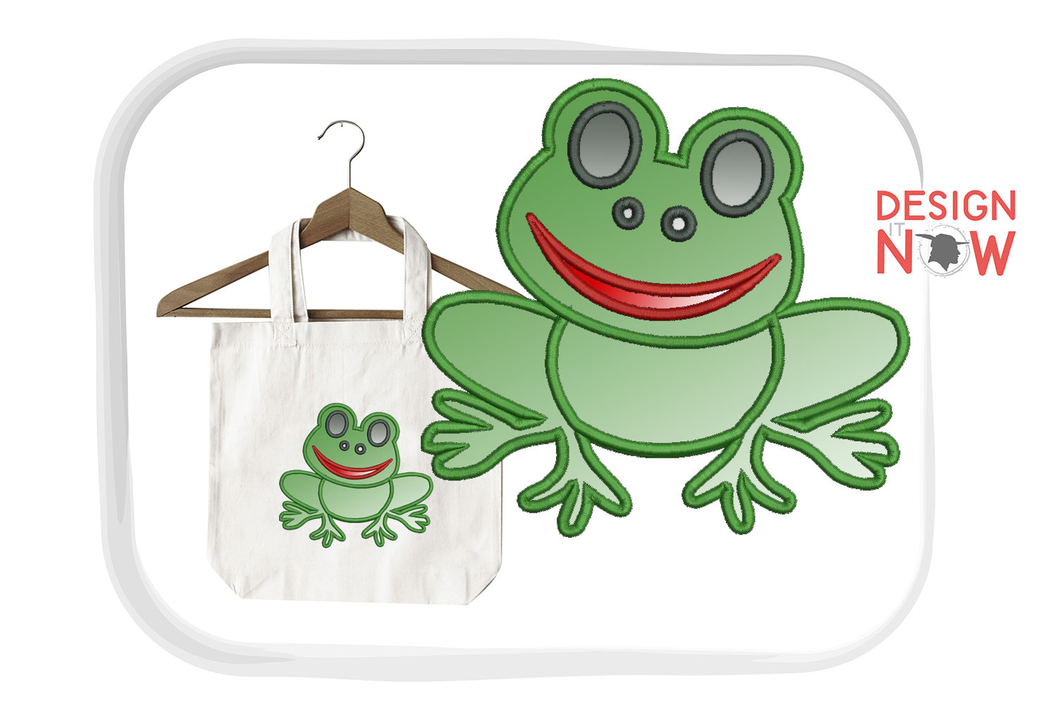 Frog Applique Embroidery Design, Embroidery Pattern example image 1