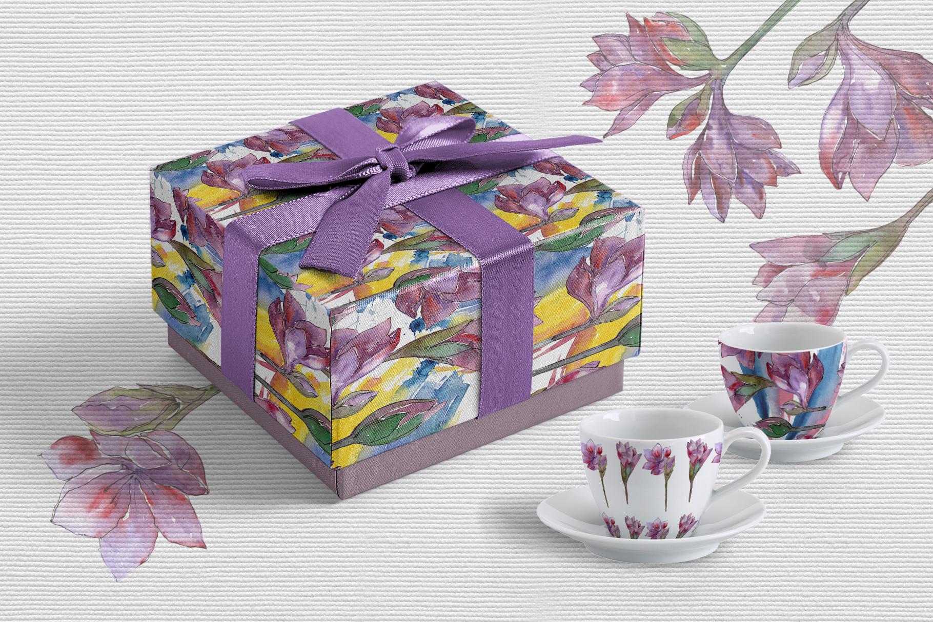 Purple amaryllis PNG watercolor set example image 3