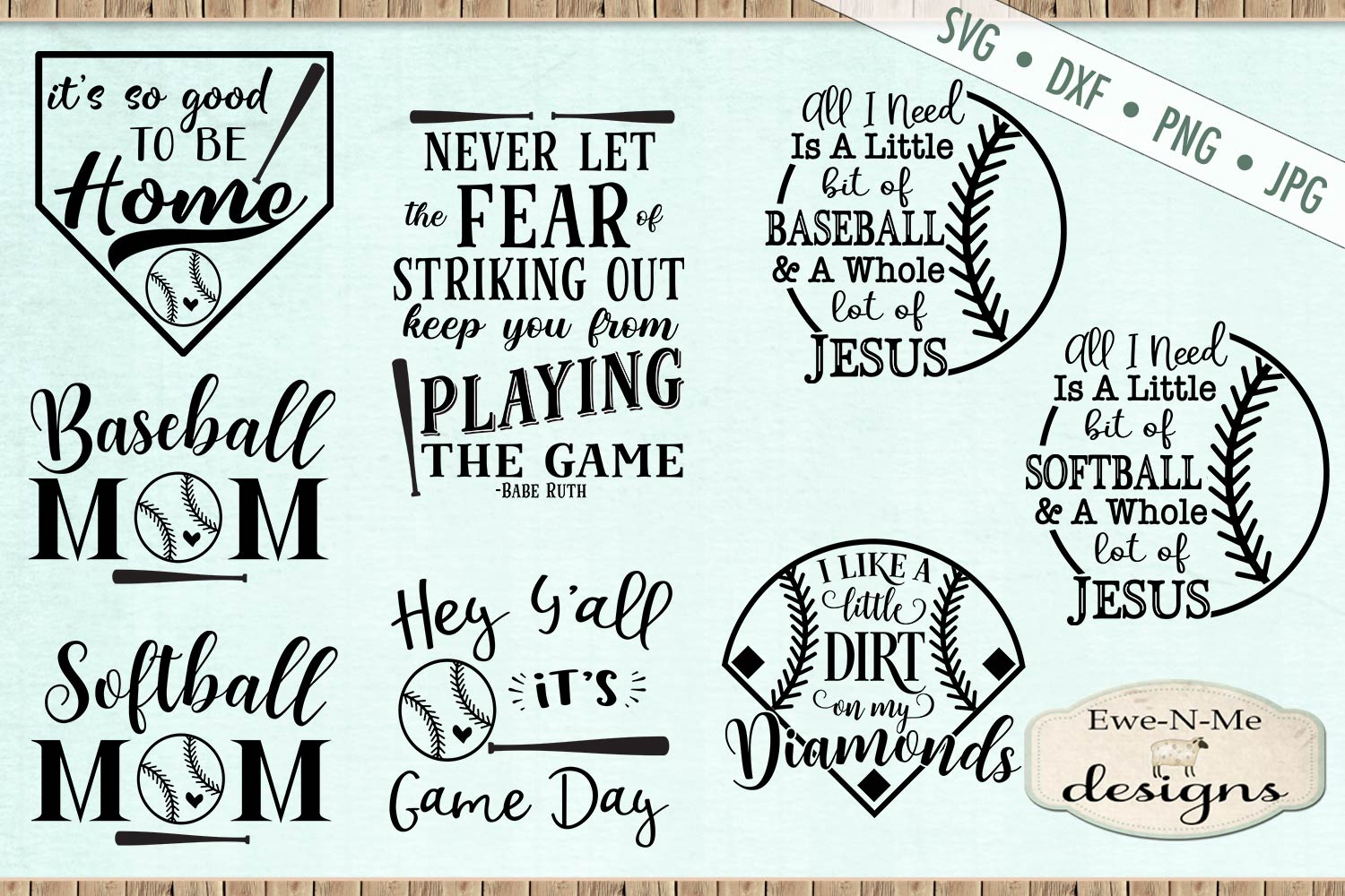 Baseball Softball Bundle Baseball Mom SVG DXF Files example image 1