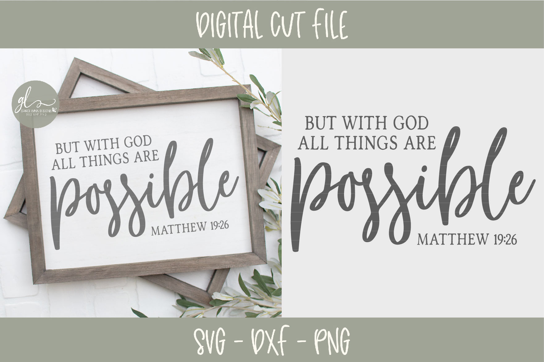 With God All Things Are Possible - SVG Cut File example image 2