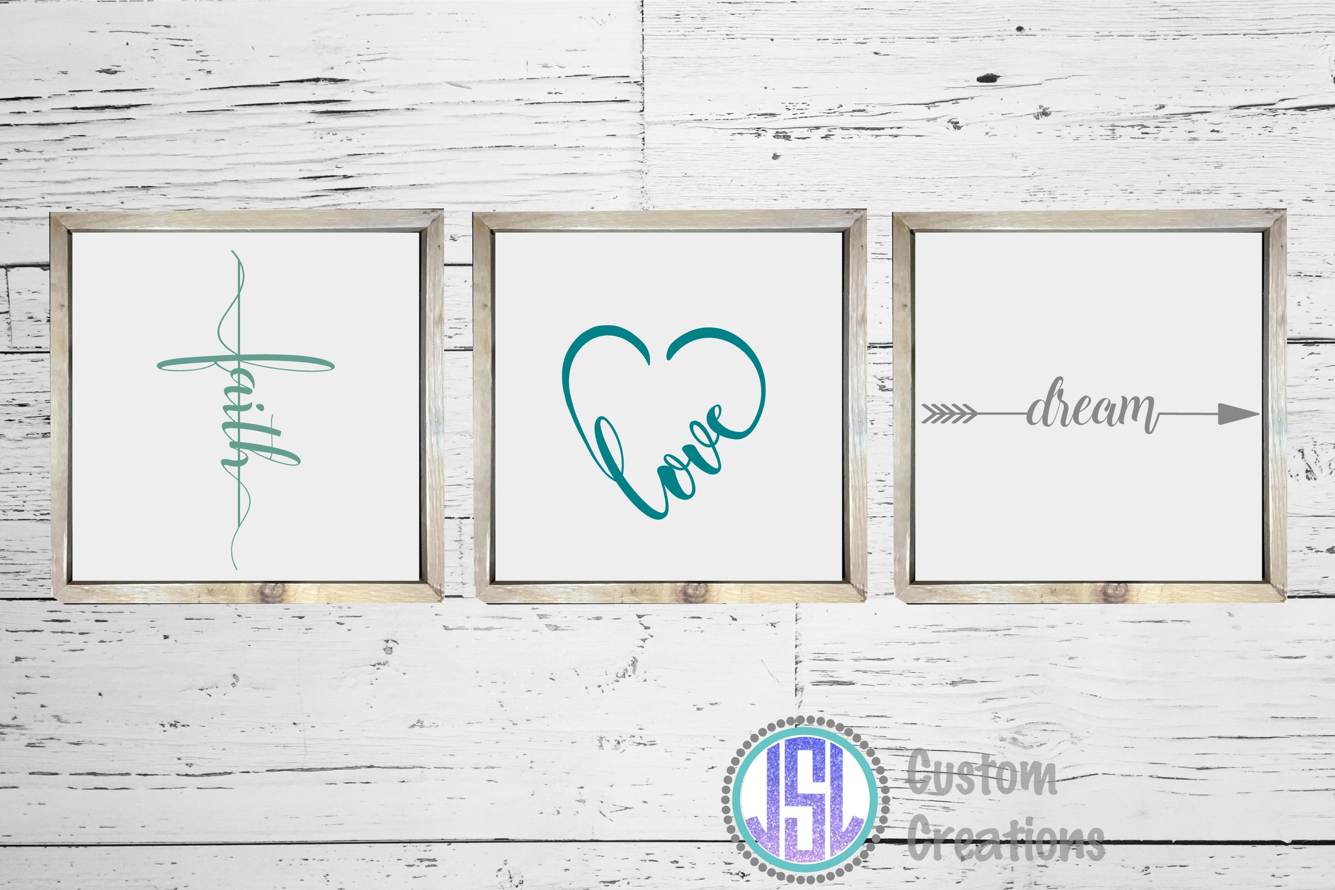 Faith Dream Love | Set of 3 Bundle| SVG DXF EPS PNG example image 2