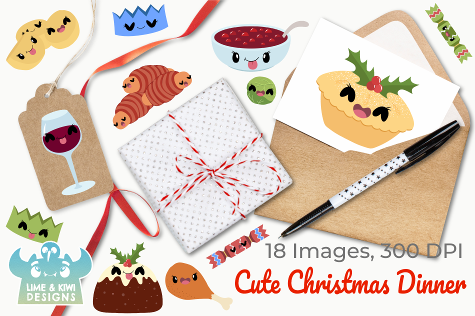 Christmas Dinner Clipart.Cute Christmas Dinner Clipart Instant Download Vector Art