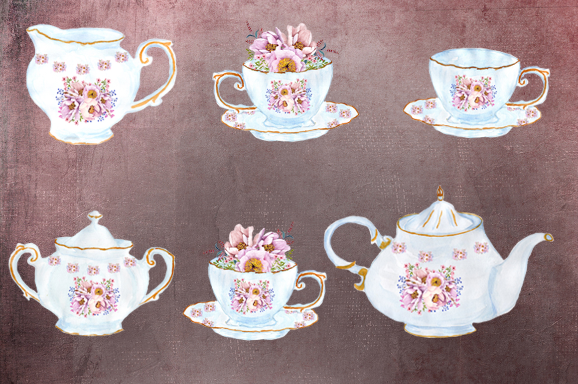 Tea time watercolor floral clipart example image 3