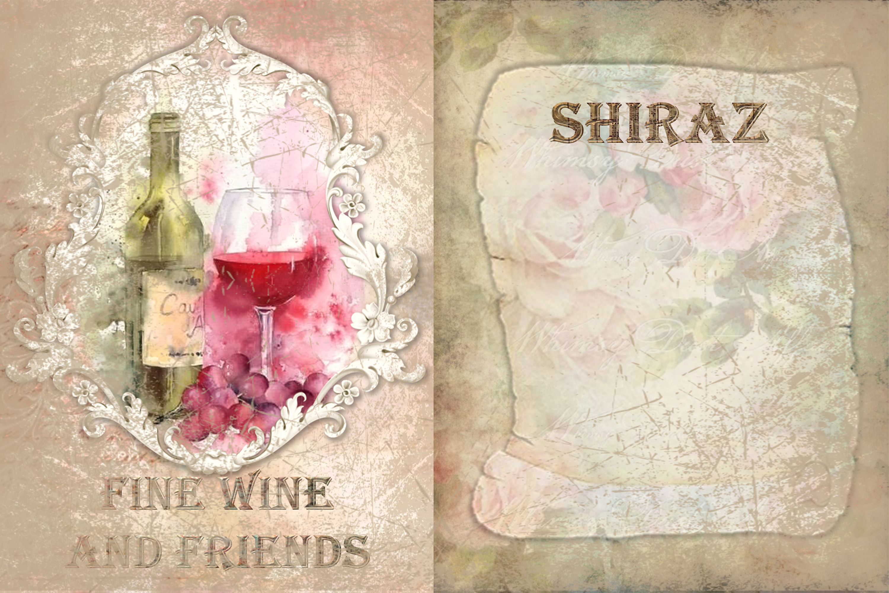 10 Wine Journaling backgrounds printable commercial use example image 2