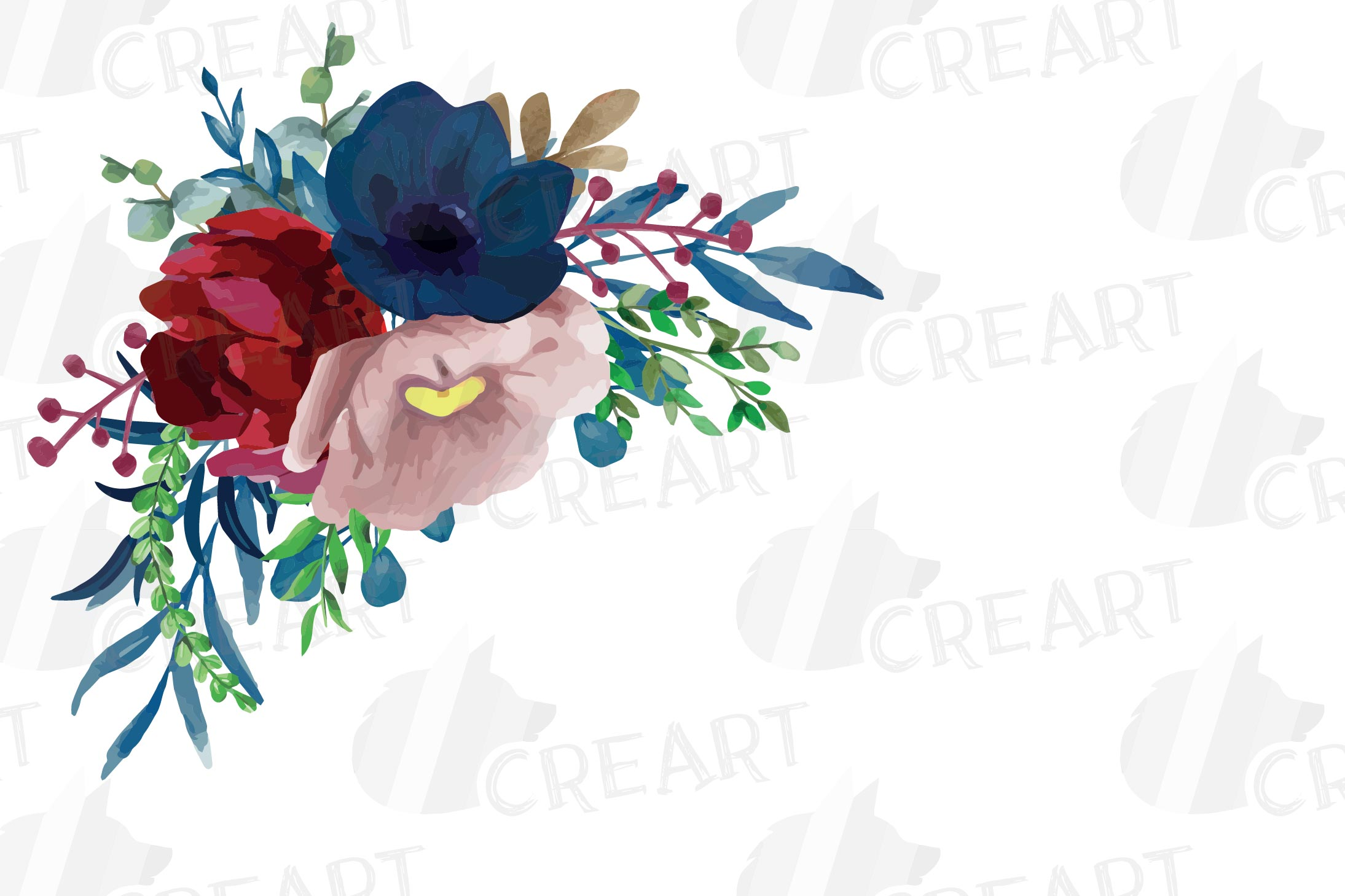 Colorful navy and burgundy floral watercolor wedding bouquet example image 15