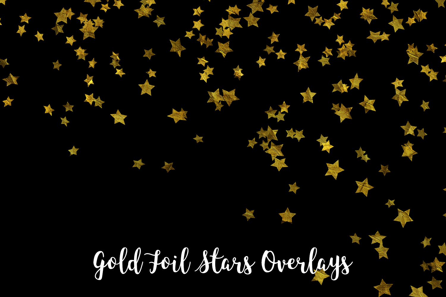 Gold Foil Stars Overlays, Gold Stars Confetti example image 6