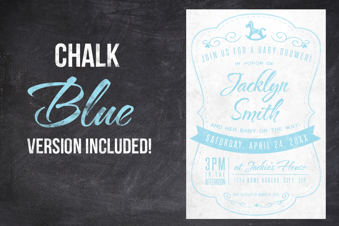 Chalk Baby Shower Invite example image 2