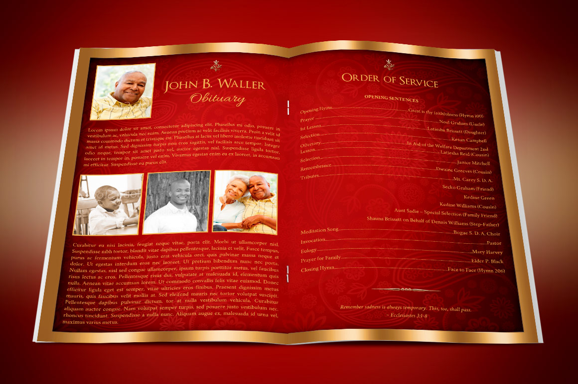 Red Gold Dignity Funeral Program Publisher Template  example image 4