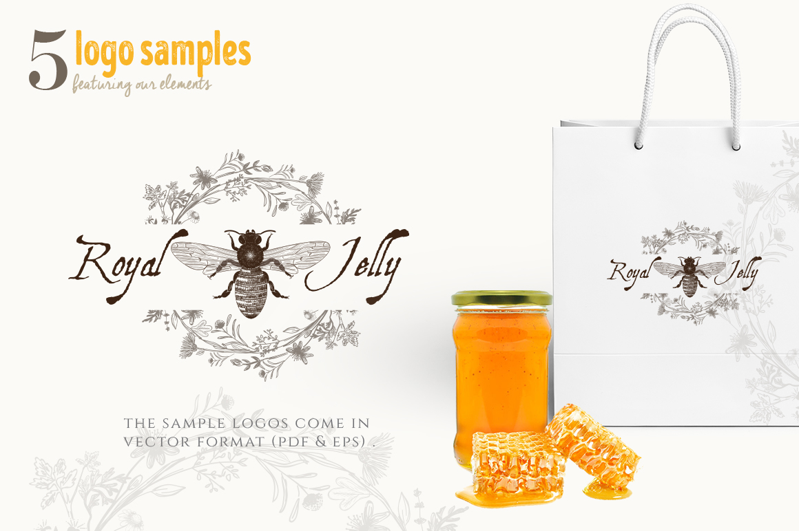ORGANIC LOGO ELEMENTS  HONEY example image 12