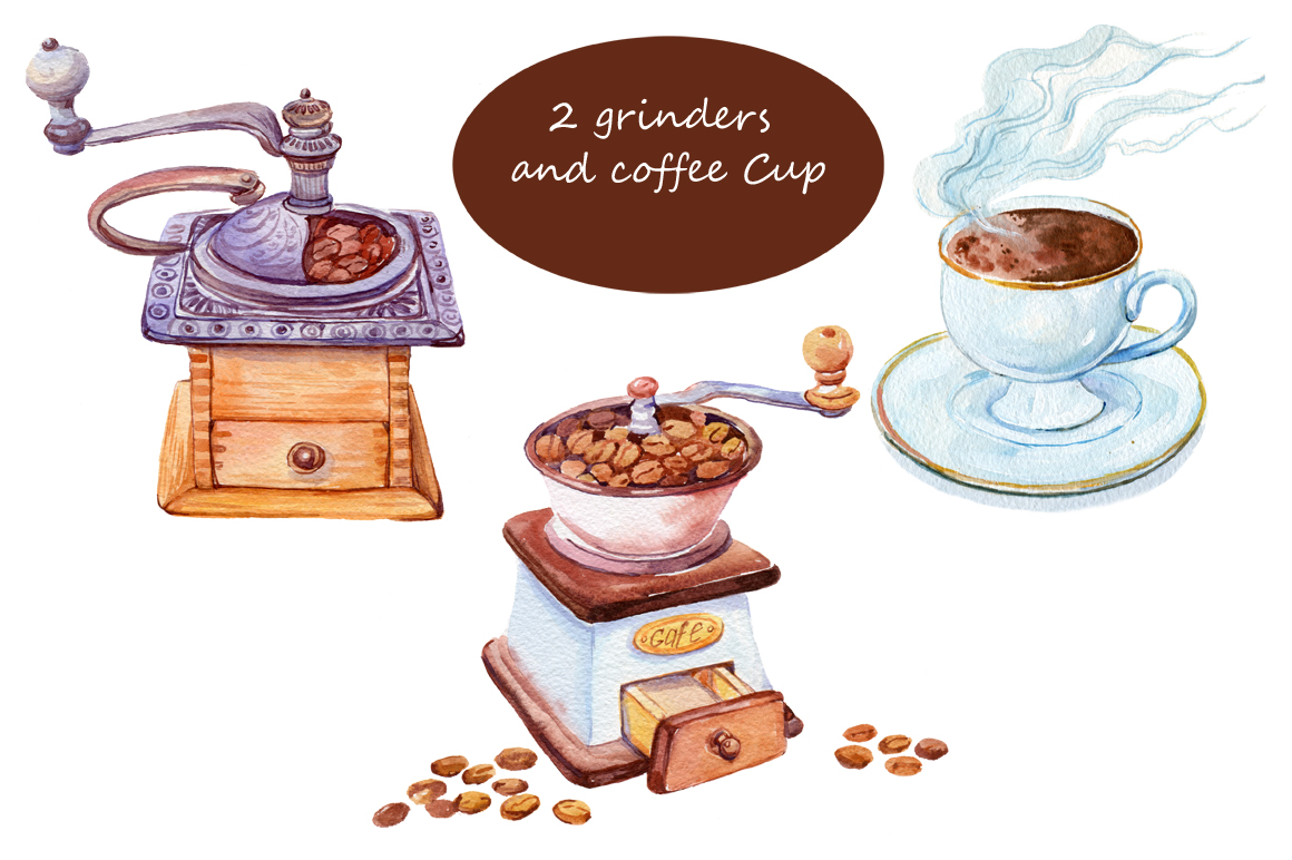 watercolor/coffee grinder /5 pattern example image 3