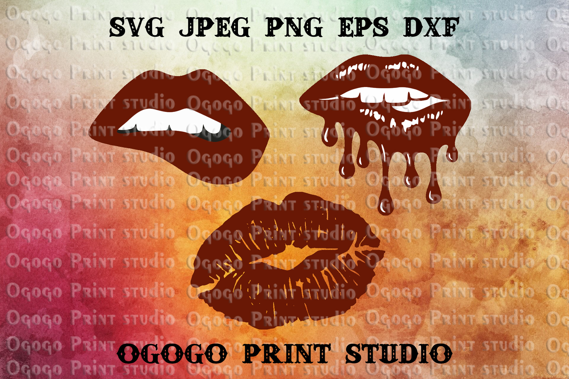 Bleeding Lips Svg Bundle, Kiss svg file, Love svg example image 1
