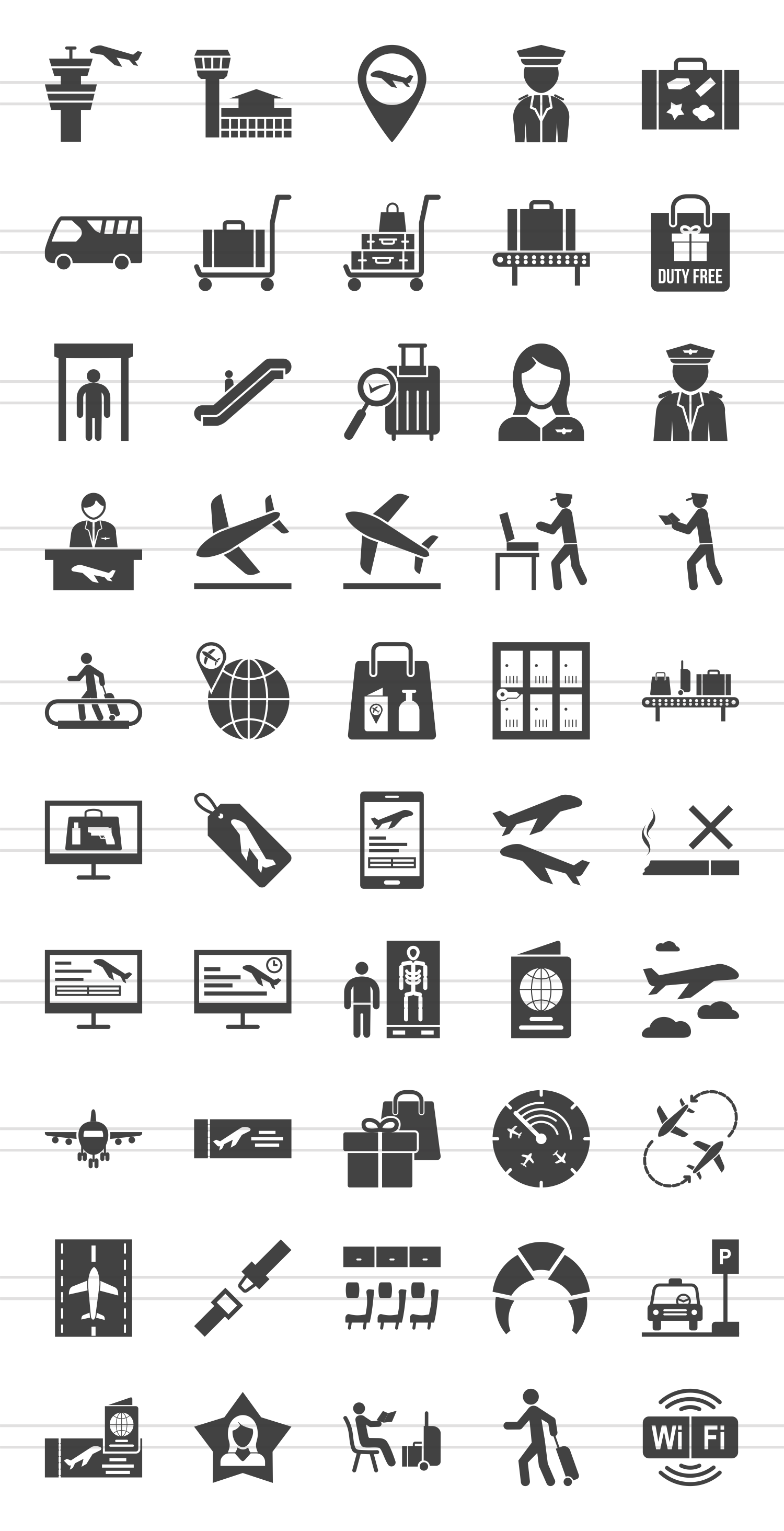 50 Airport Glyph Icons example image 2