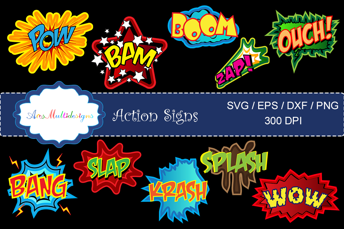 action signs svg vector clipart / action sign silhouette / zap clipart / bang clipart / pow clipart / boom clipart /pop art / comic book example image 2